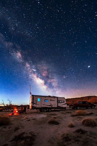 Camping Under the Milky Way At The Twilight's First Gleaming