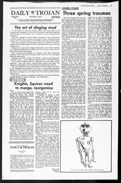 Daily Trojan, Vol. 60, No. 110, April 25, 1969