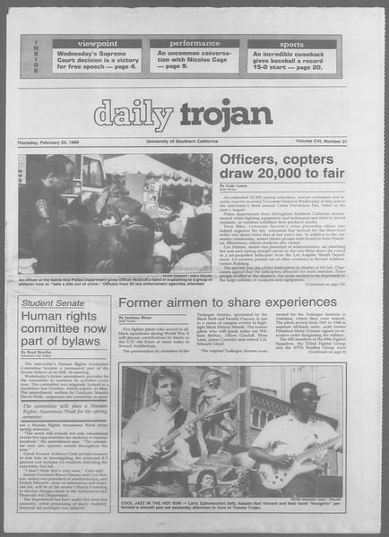Daily Trojan, Vol. 106, No. 31, February 25, 1988