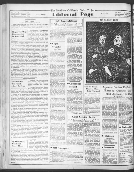 Daily Trojan, Vol. 28, No. 30, October 30, 1936