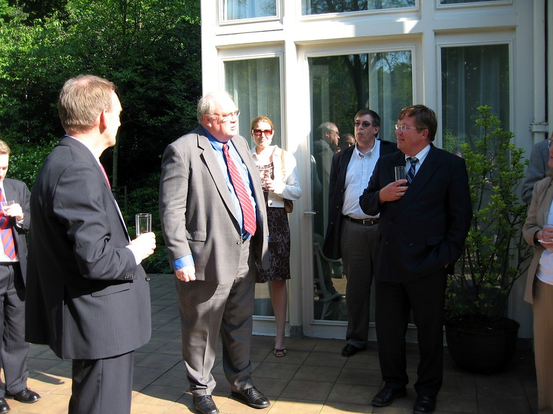 Deputy Chief of Mission Micheal Gallagher and Helmer Vossers, Director of Budget Policy for the Dutch Ministry of Finance, at Gallagher's residence in The Hague