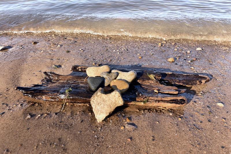 Heart Rocks on the Beach, Baxter Beach, Sarnia Ont