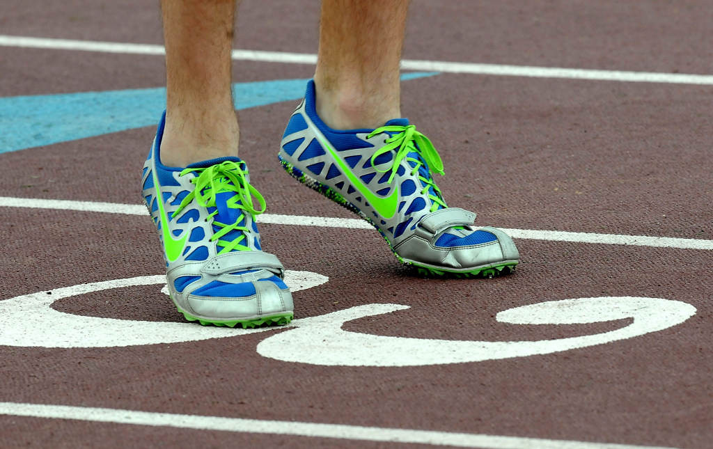 . The running shoes of Forest Lake\'s Andrew Wright as he warms up before the 4X100 meter relay. Forest Lake won the relay with a time of 42.43. (Pioneer Press: Sherri LaRose-Chiglo)