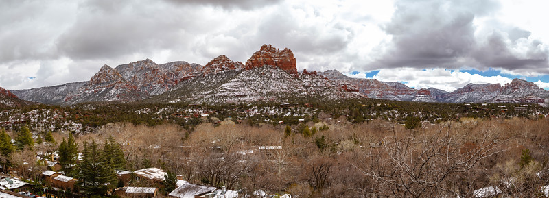 Snow Covered Sednoa Arizona with Red Rocks Panorama