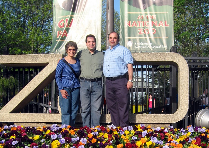 Craig and parents at the entrance to the Smithsonian's National Zoological Park (4/23/11)