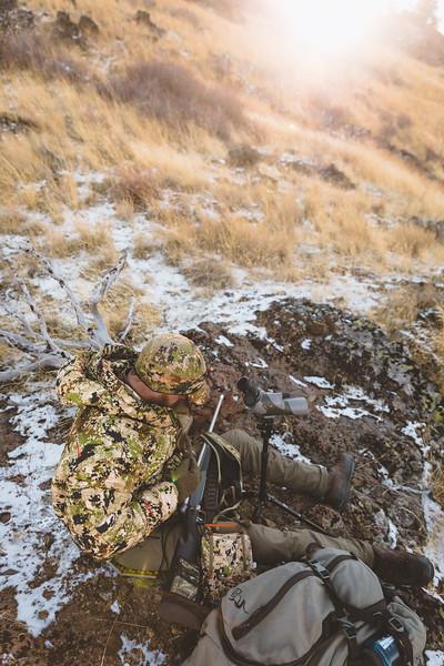 Austin Heinrich deploying the Kelvin Down WS Hoody while hunting Mule Deer in Idaho, November 2018