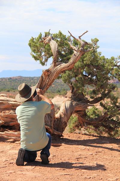 20180715-045 - Canyonlands NP - Dad and Tree at Grand View Point Overlook.JPG
