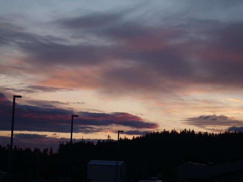 Mid-September sunset over Auke Bay ferry terminal