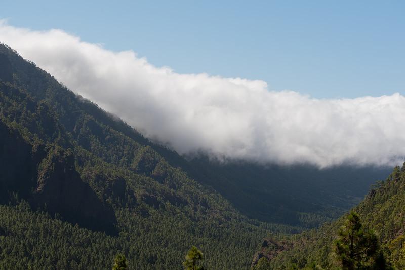 Fog covering the mountain in La Palma, Spain