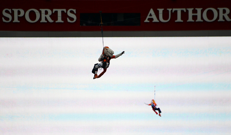 . Broncos mascot Miles zip lines into the stadium prior to the start of the game.  The Denver Broncos played the Indianapolis Colts in an AFC divisional playoff game at Sports Authority Field at Mile High in Denver on January 11, 2015. (Photo by Craig F. Walker/The Denver Post)