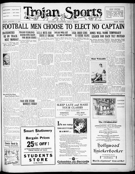 Southern California Daily Trojan, Vol. 21, No. 70, January 17, 1930