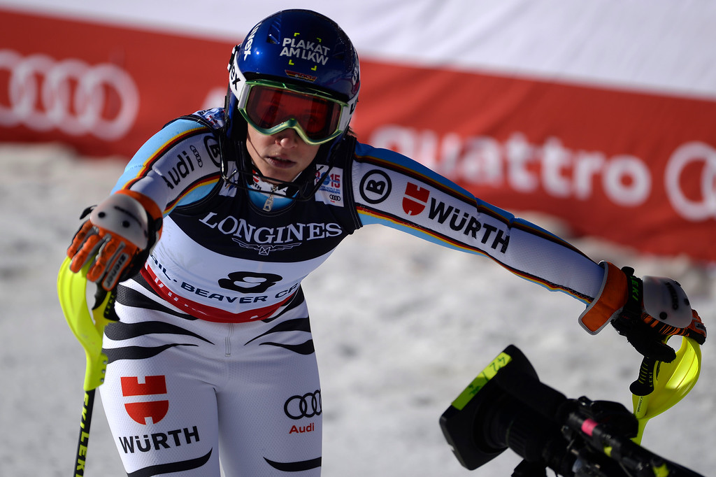 . BEAVER CREEK, CO - FEBRUARY 09: Veronique Hronek of Germany reacts to her slalom run during the ladies\' alpine combined final. FIS Alpine World Ski Championships 2015 on Monday, February 9, 2015. (Photo by AAron Ontiveroz/The Denver Post)