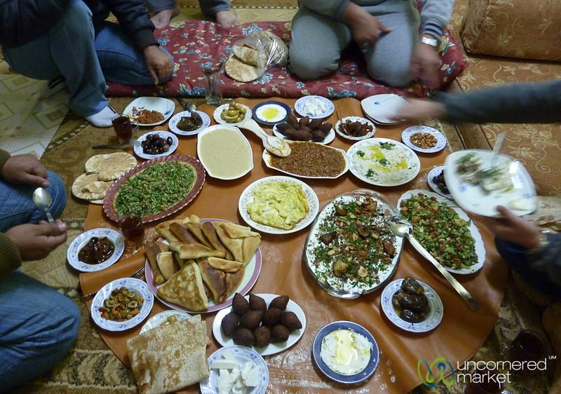 Eating Family Style in Azraq, Jordan