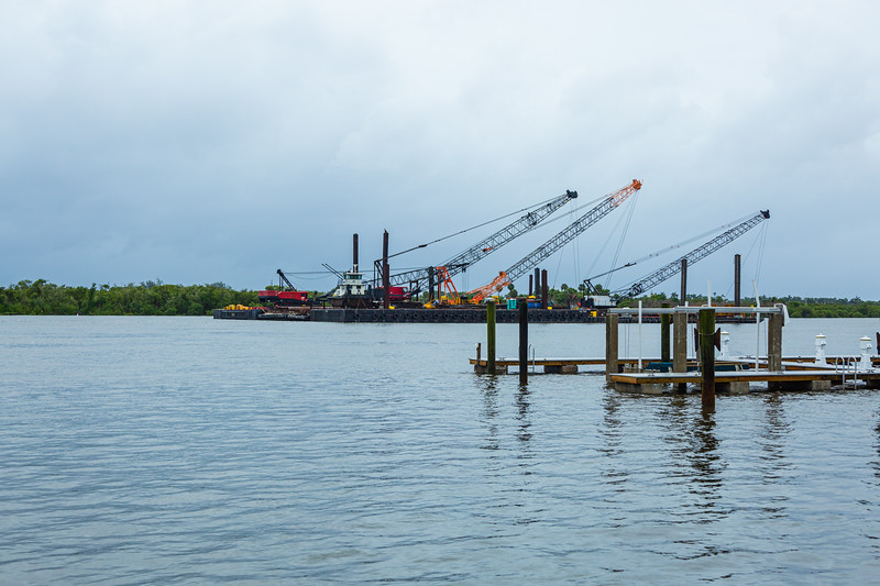 The construction cranes used in building the new Southern Blvd. bridge have been moved in the middle of the Intracoastal Waterway ahead of Hurricane Dorian side-swiping Florida's east coast on Labor Day, Monday, September 2, 2019. [JOSEPH FORZANO/palmbeachpost.com]