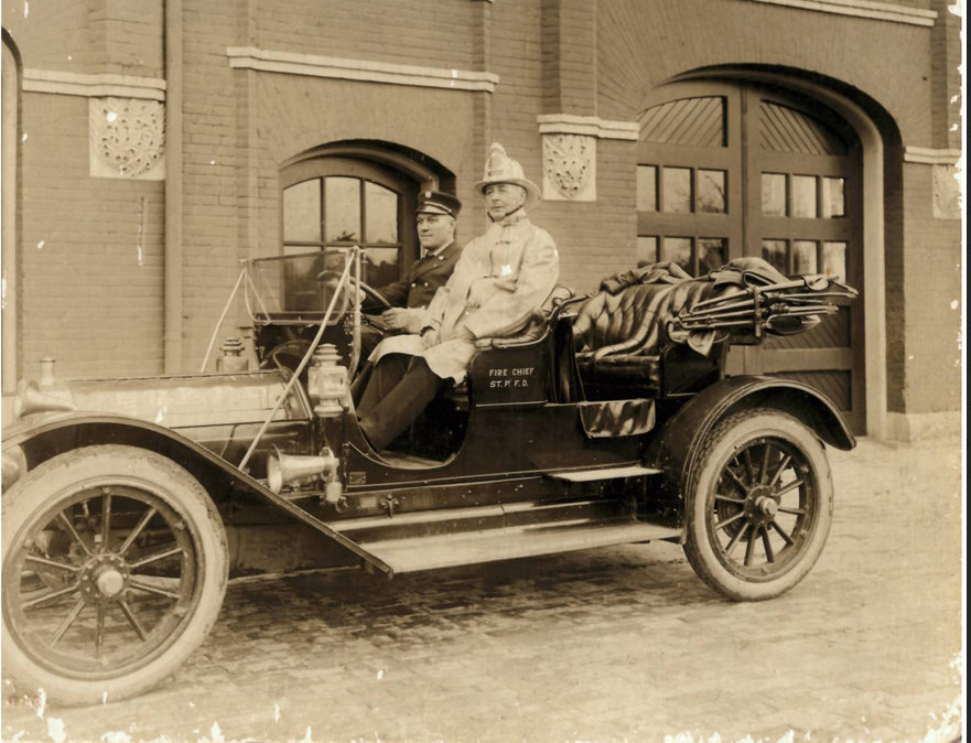 . A VOLUNTEER of St. Paul: �Some time ago [BB, 11/3/2014], LADYDOC sent in a picture of her great-grandfather, Harry Devlin, who was Chief of the St. Paul Fire Department, and asked for the identity of the fire station in the picture. <p>�The old photos at the Firefighters Hall & Museum in Minneapolis revealed it to be old Station 14, which was located at the southeast corner of Cleveland & Milwaukee (two blocks north of St. Anthony). This station was opened in 1887 and closed around 1920. The car is probably a Pierce-Arrow of about 1910 or so. </p><p>�The Museum has photos of almost all of the fire stations in both Minneapolis & St. Paul, taken around 1908, showing the horse-drawn equipment in use at that time.�</p>