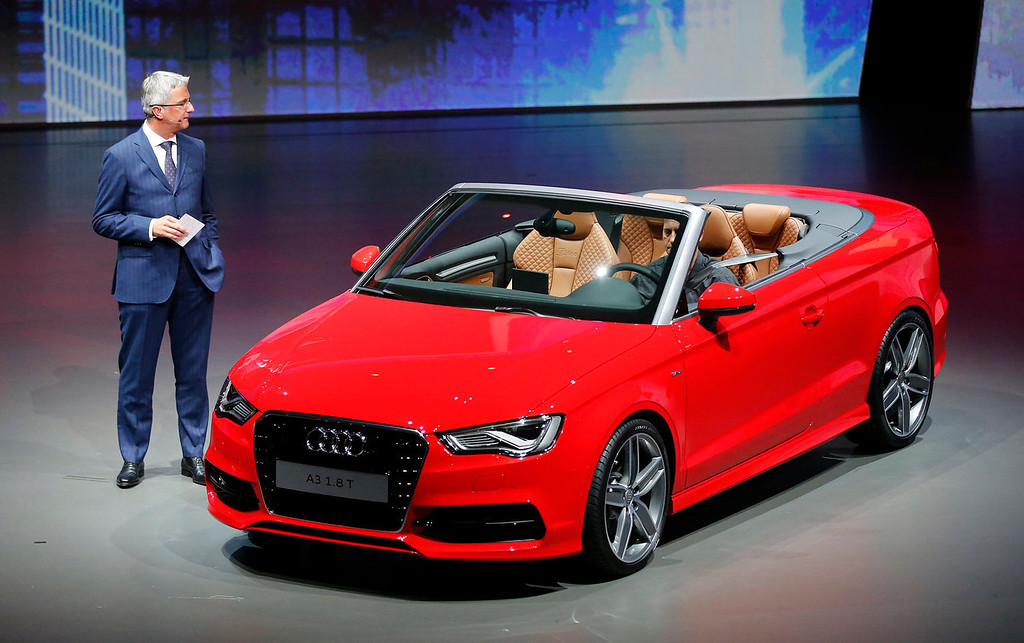 . Audi CEO Rupert Stadler presents the new Audi A3 cabriolet during a preview by the Volkswagen Group prior to the 65th Frankfurt Auto Show in Frankfurt, Germany, Monday, Sept. 9, 2013. More than 1,000 exhibitors will show their products to the public from Sept. 12 through Sept.22, 2013. (AP Photo/Frank Augstein)