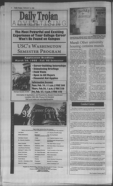 Daily Trojan, Vol. 133, No. 24, February 12, 1998