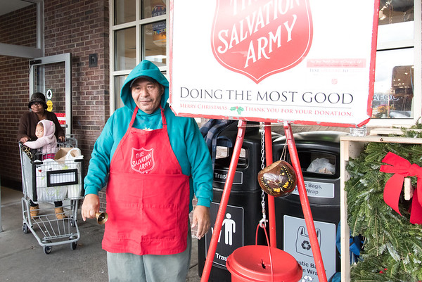 11/27/18 Wesley Bunnell | Staff Luis Morales working as a bell ringer for the Salvation Army outside of the Stop & Shop in New Britain on Tuesday afternoon.