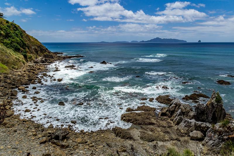Blick von der Mangawhai Beach auf Taranga Island