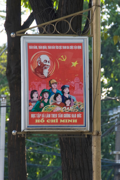 Propaganda sign spotted in Saigon, Vietnam