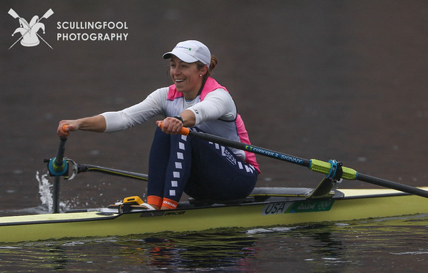 Scullers, coaches and raindrops.