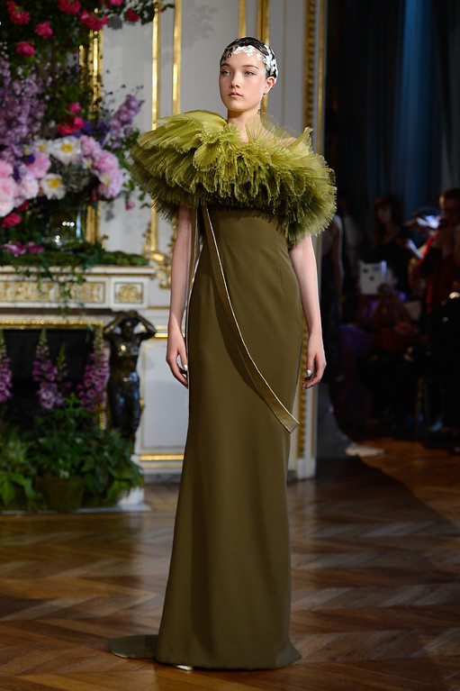. A model walks the runway during the Alexis Mabille show as part of Paris Fashion Week Haute-Couture Fall/Winter 2013-2014 at Hotel dEvreux  on July 1, 2013 in Paris, France.  (Photo by Pascal Le Segretain/Getty Images)