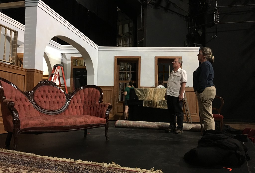 ". Richard Payerchin � The Morning Journal <br> Paul Moser, left, Oberlin College theater professor and producing artistic director of the Oberlin Summer Theater Festival, reviews the set of the stage adaptation of ""Little Women.\"" The play will open the 10th season of the Oberlin Summer Theater Festival and will run through Aug. 5. The other two plays this year are \""Romeo and Juliet\"" and \""Picnic.\"""