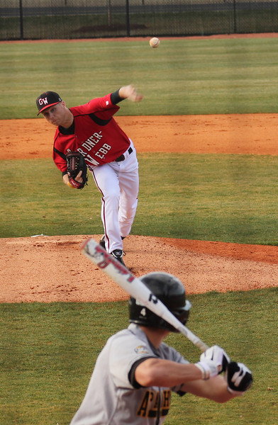 Freshman Erik Heiligenstadt throws a pitch to an Appalachian State batter.