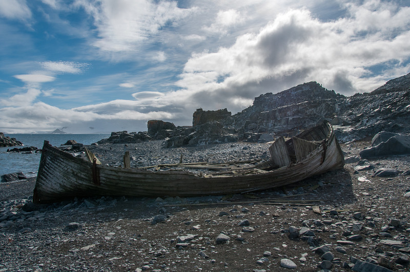 Abandoned whaling boat in Half Moon Island, Antarctica