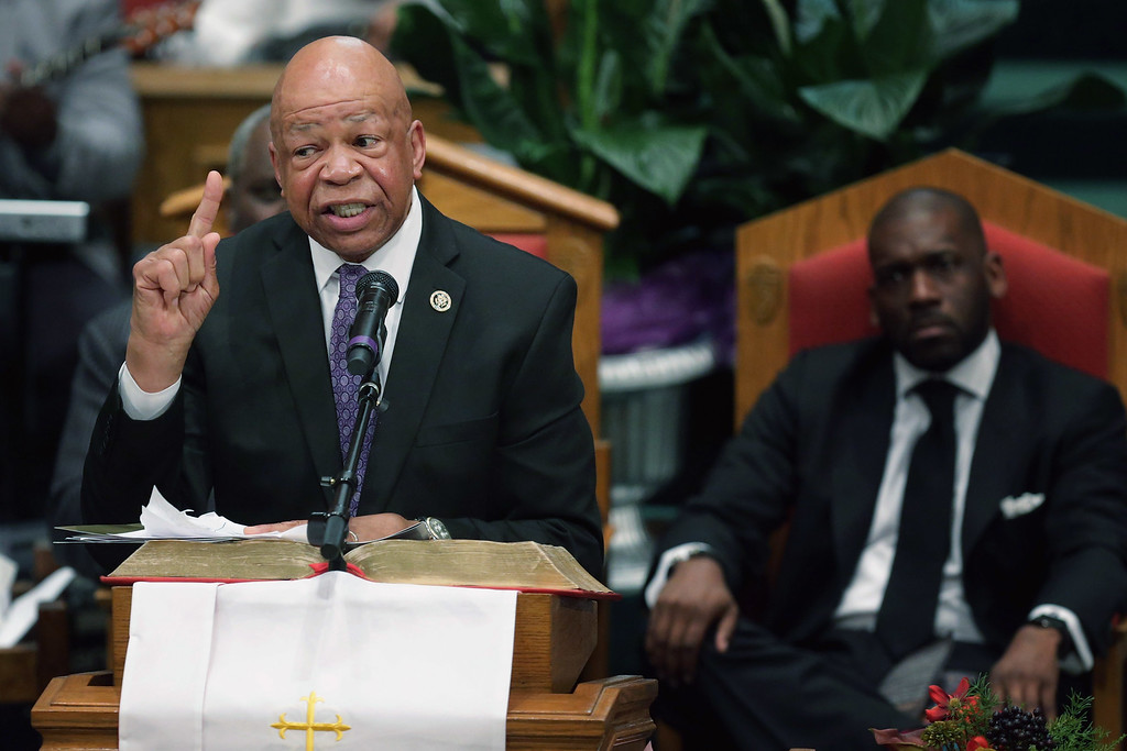 . BALTIMORE, MD - APRIL 27:  U.S. Rep. Elijah Cummings (D-MD) delivers remarks during Freddie Gray\'s funeral at the New Shiloh Baptist Church during his funeral April 27, 2015 in Baltimore, Maryland. Gray, 25, was arrested for possessing a switch blade knife April 12 outside the Gilmor Homes housing project on Baltimore\'s west side. According to his attorney, Gray died a week later in the hospital from a severe spinal cord injury he received while in police custody.  (Photo by Chip Somodevilla/Getty Images)