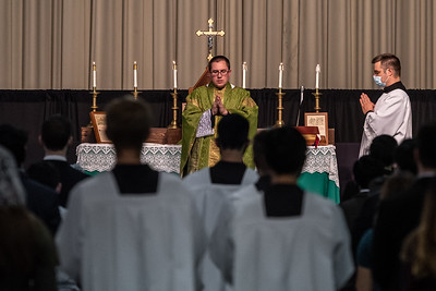 Latin Mass at Franciscan University's  Fieldhouse