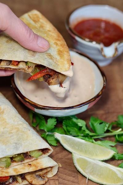 Refried Black Bean and Roasted Veg Quesadillas