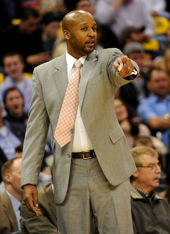 . DENVER, CO. - NOVEMBER 1:  Denver coach Brian Shaw instructed the team from the sideline in the first half. The Denver Nuggets hosted the Portland Trail Blazers Friday night, November 1, 2013 at the Pepsi Center.  Photo By Karl Gehring/The Denver Post
