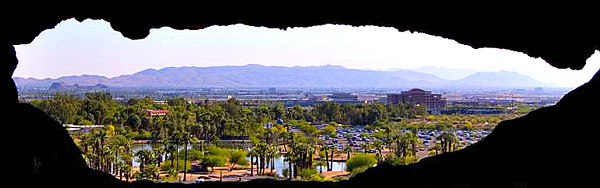 A view of Phoenix through the hole in the mountain at Papago Park.