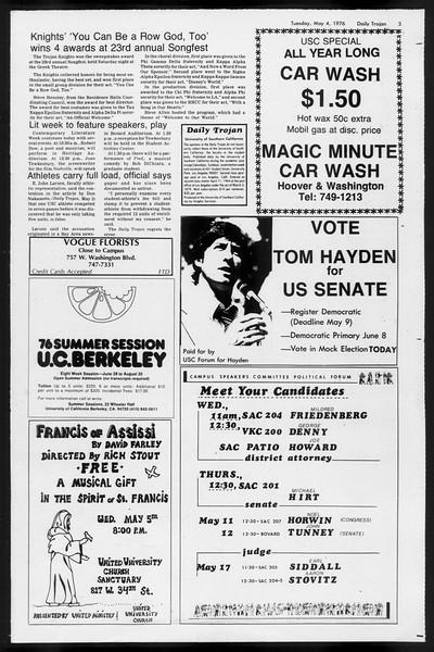 Daily Trojan, Vol. 68, No. 122, May 04, 1976
