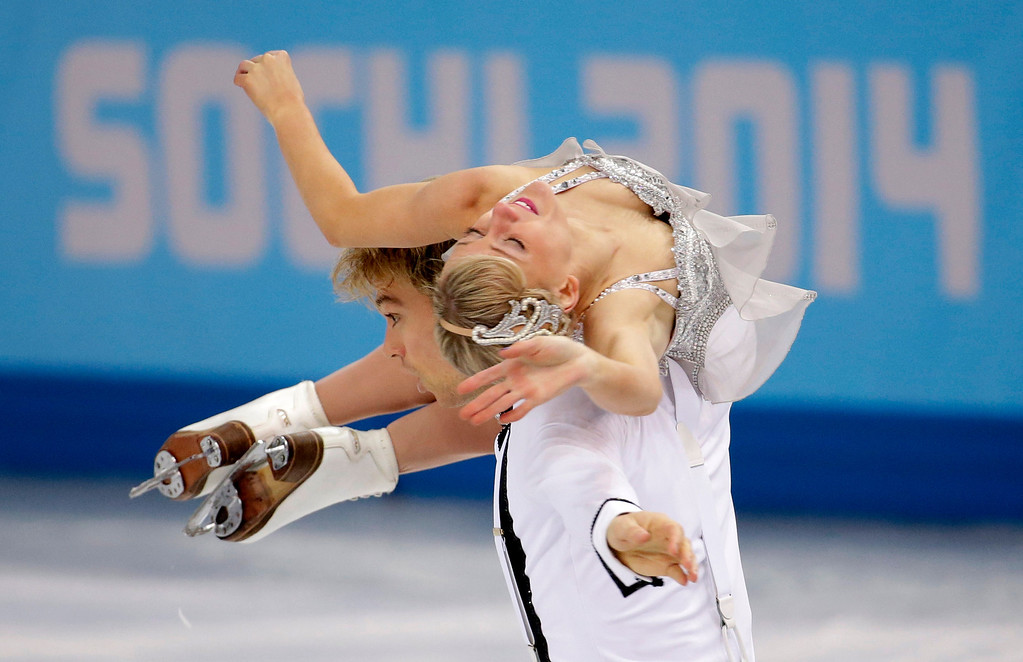 . Penny Coomes and Nicholas Buckland of Britain compete in the ice dance short dance figure skating competition at the Iceberg Skating Palace during the 2014 Winter Olympics, Sunday, Feb. 16, 2014, in Sochi, Russia. (AP Photo/Bernat Armangue)