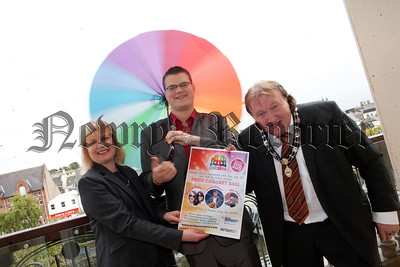 Deputy Mayor Brian Quinn is pictured with NRC Chairperson Rory Rafferty and Mary McSorley from teh Equality Commission at the launch of Pride in Newry 2014. R1435019
