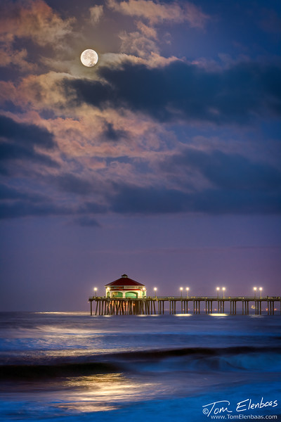 Moonset Over Huntington Beach Pier I