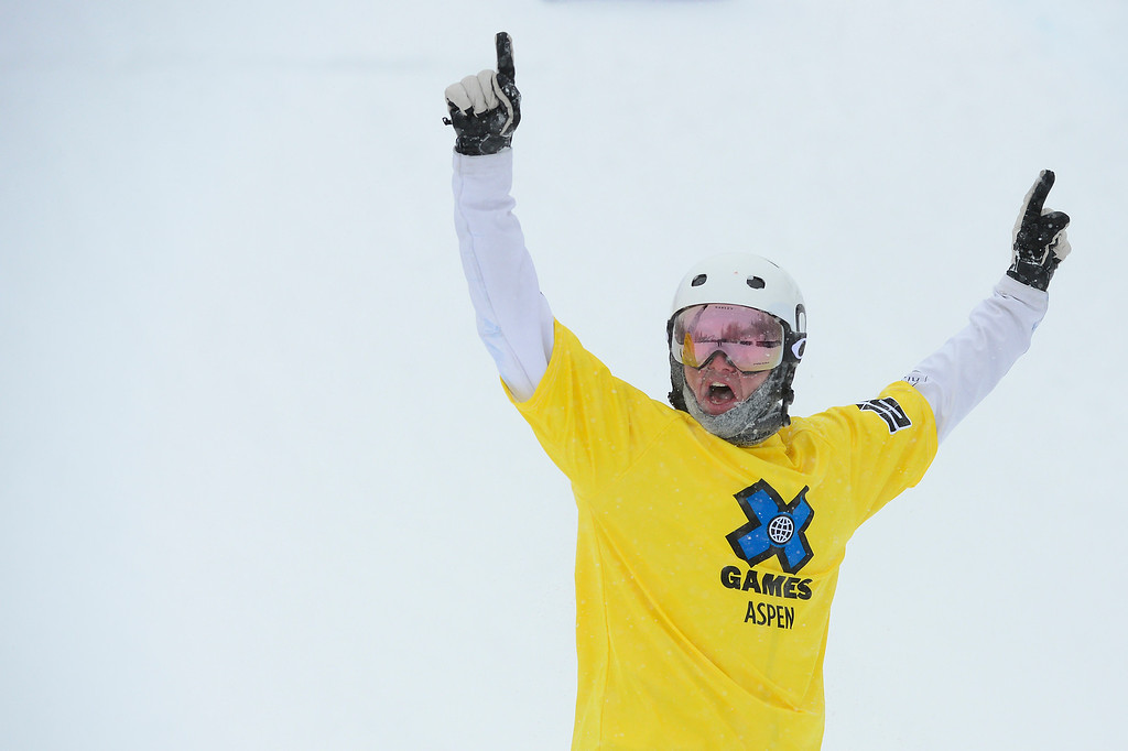 . ASPEN, CO - JANUARY 31: Jarryd Hughes raises his arms in victory after winning the men\'s ski cross finals at Winter X Games 2016 at Buttermilk Mountain on January 31, 2016 in Aspen, Colorado. Jarryd Hughes won the event with a time of 0:59.292.  (Photo by Brent Lewis/The Denver Post)