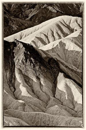 Zabriskie Point in Black & White-Death Valley