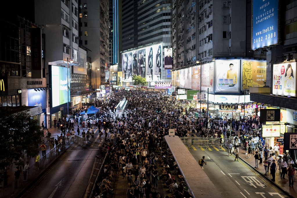 . Pro-democracy protesters gather at a rally in the Causeway Bay area of Hong Kong on September 29, 2014.  AFP PHOTO / ALEX  Ogle/AFP/Getty Images