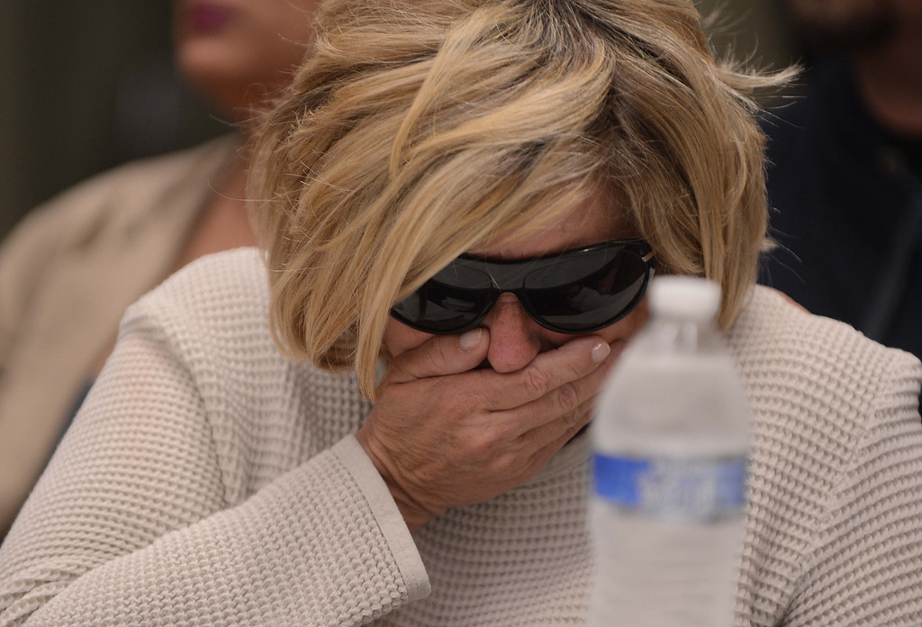 . Susan Blanke, the mother of Joseph McStay, breaks down in tears during a news conference about her son and his family\'s death on Friday at the San Bernardino County Sheriff\'s Department headquarters in San Bernardino. Blanke\'s son and his family\'s bodies were found in a shallow grave on Monday, Nov. 11, 2013 near  Victorville. (LaFonzo Carter/The Sun)