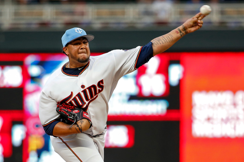 . Minnesota Twins starting pitcher Adalberto Mejia throws to a Cleveland Indians batter during the first inning of the second baseball game of a doubleheader Saturday, June 17, 2017, in Minneapolis. (AP Photo/Bruce Kluckhohn)