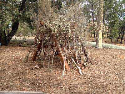 open plan tee pee with branches for building
