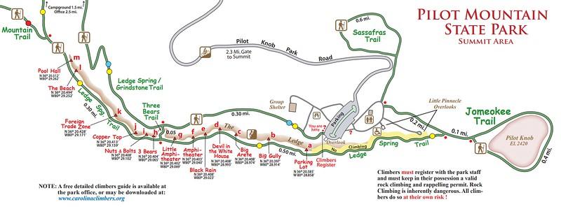 Pilot Mountain State Park (Climbing Map)