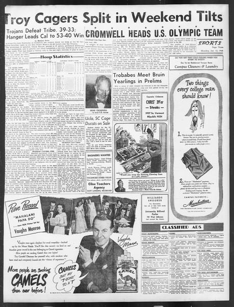 Daily Trojan, Vol. 39, No. 73, January 12, 1948
