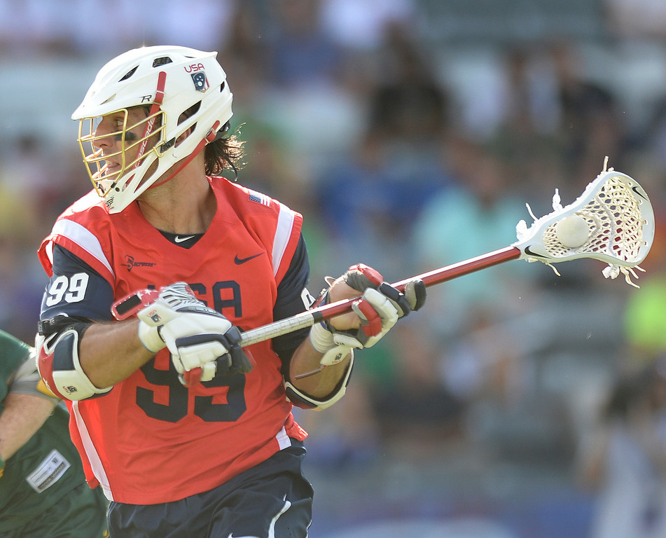 . COMMERCE CITY, CO - JULY 17: US midfielder Paul Rabil (99) looked for a shot in the first half. Team USA faced Australia in a FIL World Championship semifinal game Thursday night, July 17, 2014.  Photo by Karl Gehring/The Denver Post