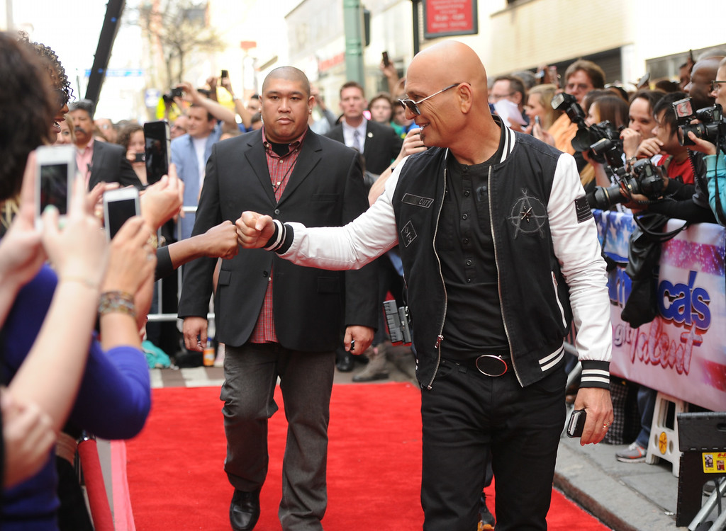 ". Celebrity judge Howie Mandel arrives at the ""America\'s Got Talent\"" auditions on Tuesday April 9, 2013 in New York. (Photo by Evan Agostini/Invision/AP)"