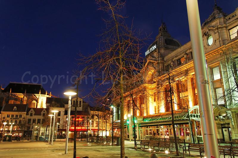 The Groenplaats in Antwerp (Antwerpen), Belgium, captured at night.