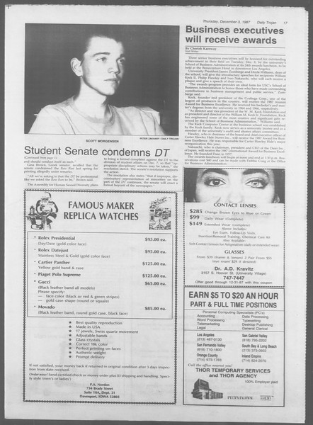 Daily Trojan, Vol. 105, No. 62, December 03, 1987
